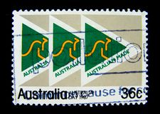 A stamp printed in Australia shows an image of Australia made logo on value at 36 cent. BANGKOK, THAILAND. – On May 30, 2018 - A stamp printed in Australia Royalty Free Stock Photos