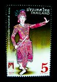 A stamp printed in Thailand shows an image of man in Thai musical folk drama costume on on value at 5 baht. BANGKOK, THAILAND. – On May 26, 2018 - A stock image