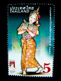 A stamp printed in Thailand shows an image of woman in Thai musical folk drama costume on on value at 5 baht. BANGKOK, THAILAND. – On May 26, 2018 - A royalty free stock images