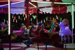 BANGKOK, THAILAND – NOVEMBER 22, 2018: a forsake carousel nobody in the night festival royalty free stock photo