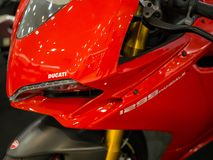 Close up Red Ducati 1299 Panigale displaying at Motor Show. stock photos