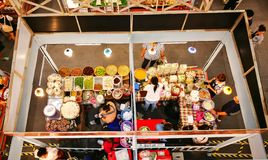 Indoor food stall for Thai food festival at a shopping center, the image in top view. BANGKOK, THAILAND. – On September 15, 2018 - Indoor food stall for royalty free stock images