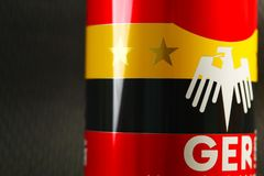 Aluminum can with flag screen. Stock Images