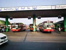 bangkok thailand —`-Minburi ` en av kheten för 50 områden av Bangkok, Thailand Det begränsas av annan Bangkok bussterminal Royaltyfria Foton
