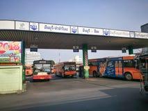 bangkok thailand —`-Minburi ` en av kheten för 50 områden av Bangkok, Thailand Det begränsas av annan Bangkok bussterminal Arkivbilder