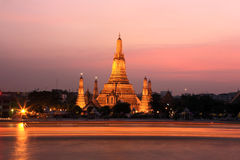 Bangkok.Thailand. Wat Arun Temple at sunset- heritage monument at Chao Phraya River.Bangkok.Thailand Royalty Free Stock Photography