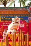 BANGKOK, /THAILAND- 20 DE ENERO: danza de león que se viste durante desfile en celebraciones chinas del Año Nuevo el 20 de enero d Fotografía de archivo