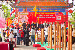 BANGKOK, /THAILAND- 20. JANUAR: Löwetanz, der während der Parade in den Neujahrsfest-Feiern am 20. Januar 2013 ankleidet Stockfoto