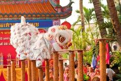 BANGKOK, /THAILAND- 20. JANUAR: Löwetanz, der während der Parade in den Neujahrsfest-Feiern am 20. Januar 2013 ankleidet Lizenzfreies Stockfoto