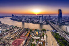 Bangkok, Thailand. Aerial view of Bangkok city with Chao Phraya river during sunset Royalty Free Stock Images