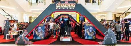 Bangkok, Thailand - Apr 26, 2018: Avenger Infinity War Movie promotional event and toy sale exhibition booth held in shopping mall. Bangkok, Thailand - Apr 26 stock photography