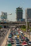 BANGKOK, THAILAND - 21 APR 2015: Bangkok traffic jam at Petchbur Stock Photo