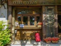 Facade of vintage restaurant bar royalty free stock photo
