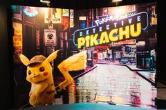 Bangkok, Thailand - Apr 25, 2019: Pokemon Detective Pikachu animation movie backdrop display in movie theatre. Cinema film promotional advertisement, or stock image