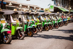 BANGKOK THAILAND - 21 APR 2015: Thailand traditional tri-wheels Stock Photos