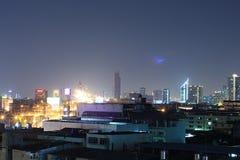 BANGKOK, THAILAND Beautiful panorama view of nightlife of Bangkok city and buildings. BANGKOK, THAILAND - April 15, 2018: Beautiful panorama view of nightlife of Stock Images