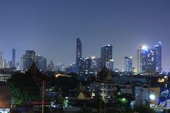 BANGKOK, THAILAND Beautiful panorama view of nightlife of Bangkok city and buildings. BANGKOK, THAILAND - April 15, 2018: Beautiful panorama view of nightlife of Royalty Free Stock Images