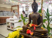 BANGKOK, THAILAND - APRIL 16: Bronze worshiped statue of a Buddh royalty free stock photo