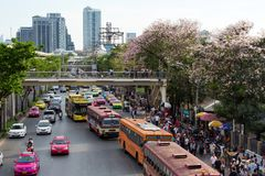 Crowded Chatuchak market area in Bangkok. BANGKOK, THAILAND, APRIL 09, 2017 : Busy area of the Chatuchak week-end market with spring blossom, Bangkok, Thailand Stock Photo