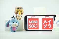 Bangkok, Thailand - April 13, 2021 : Cute figurine of Eeyore and Owl, Winnie the pooh Figures Mystery box Blind box from Miniso