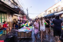 Bangkok, Thailand - April 13, 2018 : Famous Songkran Festival at. Khao San Road, Bangkok, Thailand on April 13, 2018 Foreigner and Thai people celebrate stock photos