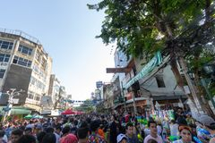 Bangkok, Thailand - April 13, 2018 : Famous Songkran Festival at. Khao San Road, Bangkok, Thailand on April 13, 2018 Foreigner and Thai people celebrate royalty free stock photography