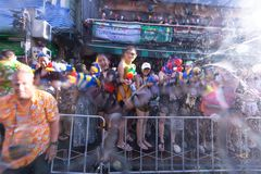 Bangkok, Thailand - April 13, 2018 : Famous Songkran Festival at. Khao San Road, Bangkok, Thailand on April 13, 2018 Foreigner and Thai people celebrate stock image