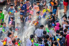 The Songkran festival in Silom, Bangkok. Celebrate Thai Traditional New Year. royalty free stock photo