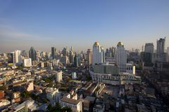 Bangkok thailand - april21,2015 : high angle view of bangkok skyscraper at pratunam district one of business center area in heart stock photo