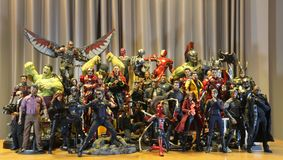 Including MARVEL Super Heroes models. BANGKOK THAILAND - APRIL 30,2019 :  Including MARVEL Super Heroes models ,superheroes figure in action in home at Bangkok royalty free stock photo