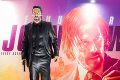 John Wick Model With a beautiful standee of a movie called John Wick Chapter 3 Parabellum display showing at cinema. Bangkok, Thailand - April 21, 2019: John stock photos