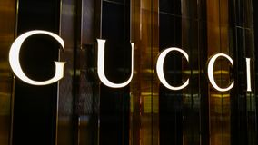 BANGKOK, THAILAND - APRIL 20, 2017: Logo of the brand. `GUCCI` in front of the store at Central Embassy branch that opened for tourism to shop everyday between royalty free stock images