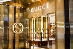 BANGKOK, THAILAND - APRIL 20, 2017: Logo of the brand. `GUCCI` in front of the store at Central Embassy branch that opened for tourism to shop everyday between stock photography