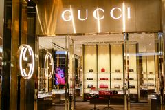 BANGKOK, THAILAND - APRIL 20, 2017: Logo of the brand. `GUCCI` in front of the store at Central Embassy branch that opened for tourism to shop everyday between stock images