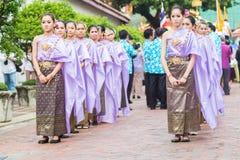 Bangkok, Thailand - April 12, 2015:A Miss Songkran in parade at Royalty Free Stock Image