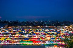 BANGKOK, THAILAND - April 6, 2018:Night view of the Train Night Market Ratchada. Train Night Market Ratchada Royalty Free Stock Photo