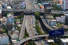 BANGKOK, THAILAND - APRIL 21, 2017: Opstoppingen in de ochtend, hoogste mening, panaramic mening Royalty-vrije Stock Foto's