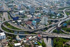 BANGKOK, THAILAND - APRIL 21, 2017: Opstoppingen in de ochtend, hoogste mening, panaramic mening Stock Afbeelding