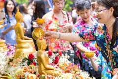 People bathing rite to buddha images royalty free stock photo