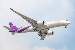 Plane or Aircraft of Thai Smile Airways or Airlines on the sky landing to Suvanabhumi airpor. Bangkok, Thailand. - April 22, 2017 : Plane or Aircraft of Thai Royalty Free Stock Photos