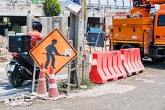 Bangkok, Thailand - April, 26, 2021 :The road is being repaired. Road construction construction sites in Bangkok, Thailand
