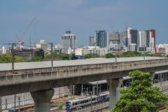 Bangkok , Thailand 14 April 2019 : Sky train bangkok and sky train garage royalty free stock images