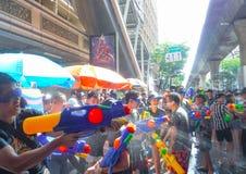 BANGKOK, THAILAND - APRIL 13: Songkran Festival in Bangkok on April 13, 2019 water splashing fun and most popular during the stock photography