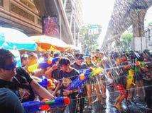 BANGKOK, THAILAND - APRIL 13: Songkran Festival in Bangkok on April 13, 2019 water splashing fun and most popular during the stock image