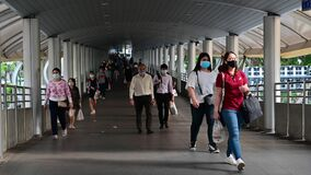 Bangkok, Thailand - April 22, 2020 : Thai people wears mask after covid-19 virus outbreak