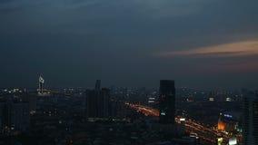 BANGKOK, Thailand - April 2015: Time lapse view of Bangkok skyline at sunset stock footage