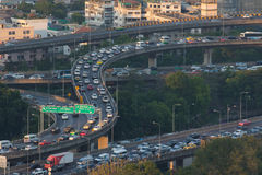 BANGKOK THAILAND -APRIL21  : traffic jam on express ways bridge Stock Photos