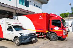 Bangkok, Thailand - April, 26, 2021 :Trucks of the Thai Post Company. Used to carry letters and parcels throughout Thailand
