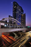 BANGKOK THAILAND - April 11:  Twilight time and traffin the centre of Bangkok business area on April 11, 2016 in BANGKOK, THAILAND. Twilight time and traffic in Royalty Free Stock Photography