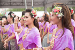 Bangkok, Thailand - April 12, 2015: Unidentified dancer performs. In in parade. show at the Songkran festival on April 12, 20 in Bangkok, Thailand stock image